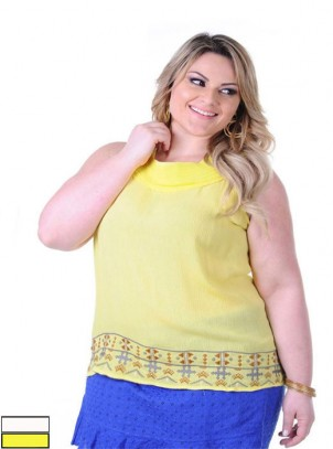 "Regata ""Duo"" Viscose e Chiffon Plus Size"