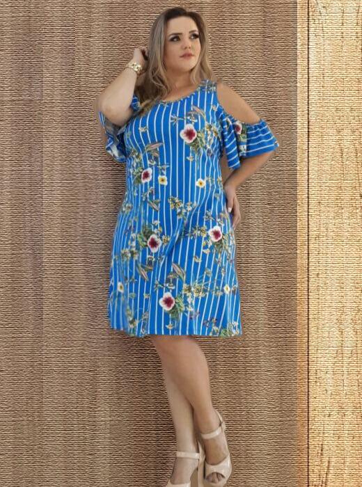 dd63bbf14 Vestido Plus Size Ciganinha Floral. Loading zoom