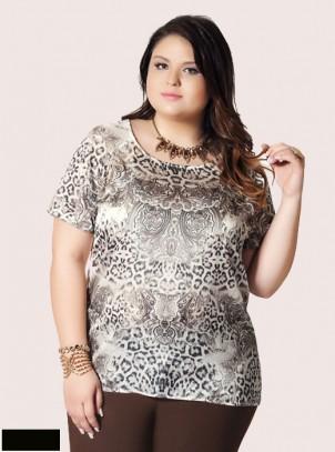 Blusa Plus Size Estampa Lenço