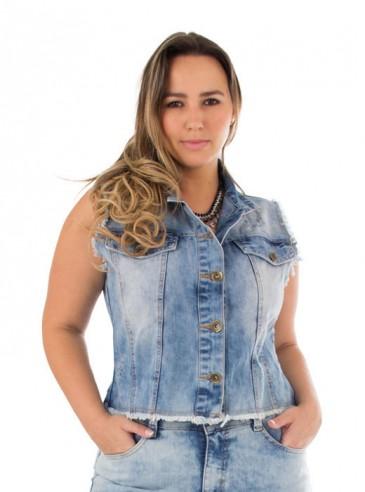 Colete Jeans Plus Size Stone