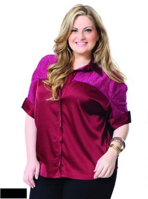 Camisa Plus Size Cetim & Renda