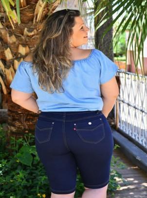 2292abfa0 Shorts Jeans Plus Size Cós com Elástico