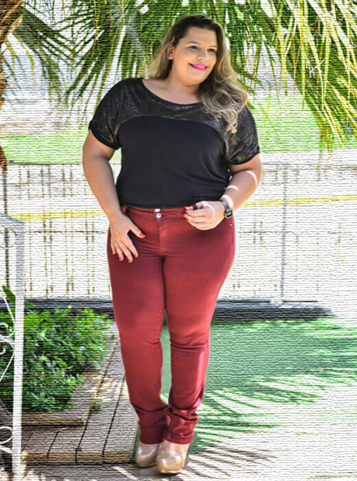 446b1d62d Calça Plus Size Cigarrete Bordô | Do44ao54 Moda Plus Size