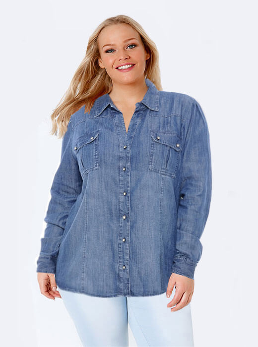 d5c1146185 Camisa Jeans Plus Size Marileti. Loading zoom